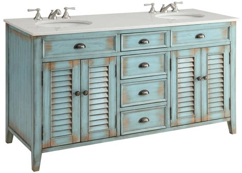 60 Inch Blue Bathroom Vanity Cottage Beach Style White
