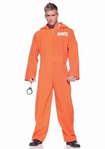 Mens Orange Prison Jumpsuit - Adult Prisoner Halloween ...