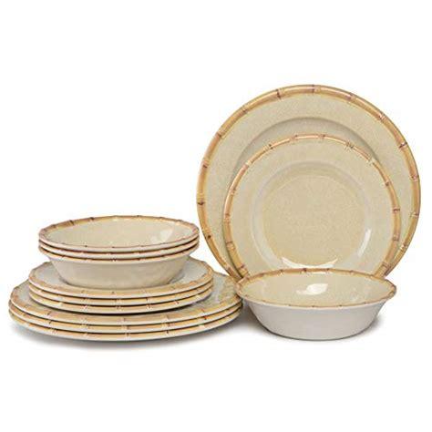 dinnerware melamine outdoor dishwasher safe dinner dishes plates resistant indoor break eating lightweight unbreakable 12pcs