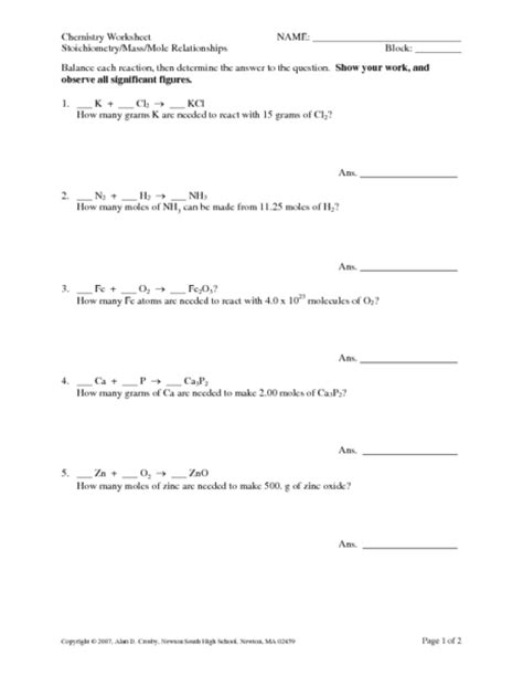stoichiometry mass mole relationships worksheet for 10th 12th grade lesson planet