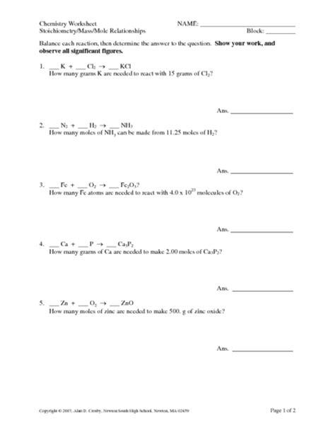 stoichiometry mole to mole worksheet printables stoichiometry worksheets happywheelsfreak