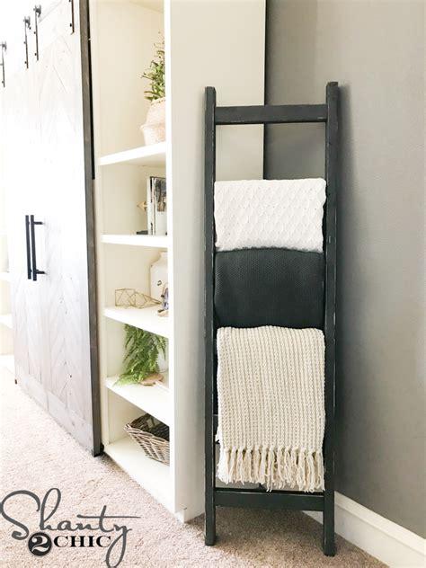 diy  rustic blanket ladder shanty  chic