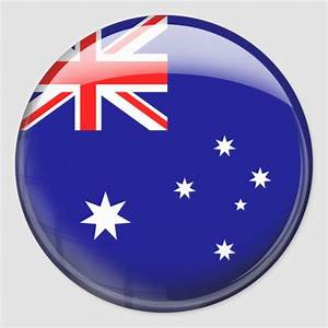 Australia Flag In Glass  Pack  Classic Round Sticker