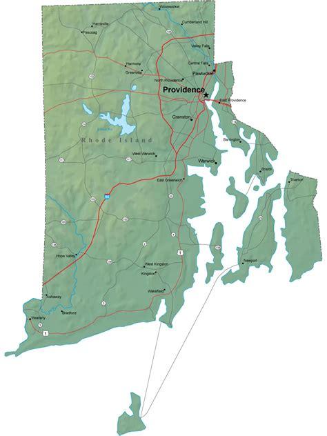 detailed rhode island map ri terrain map
