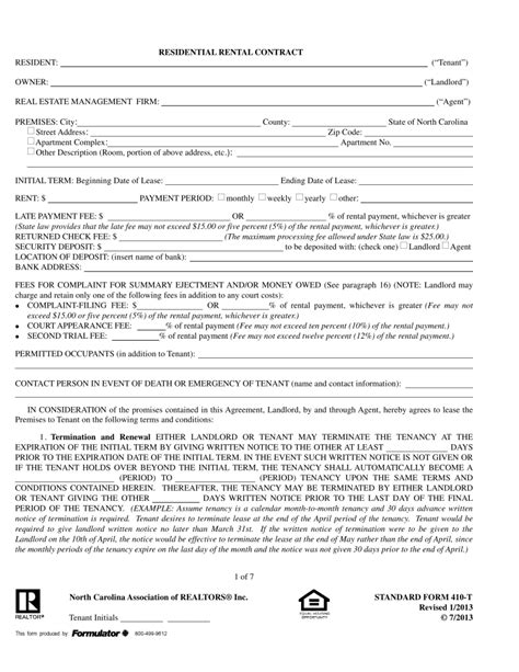 nc residential lease agreement