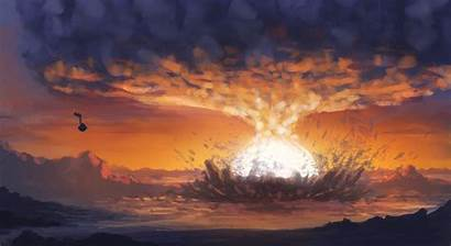 Explosion Nuclear Destruction Painting Wallpapers Wallpapersafari Smoke