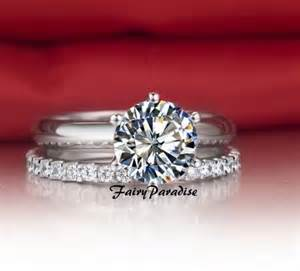 2 ct engagement ring 2 pcs wedding band set 1 5 ct solitaire engagement ring eternity fairyparadise on artfire