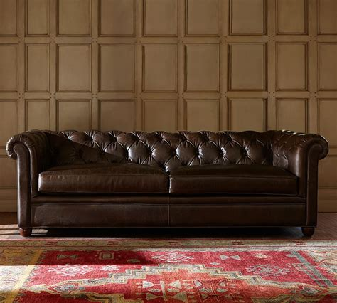 Chesterfield Loveseat Leather by Chesterfield Leather Sofa 218 Cm Pottery Barn Au