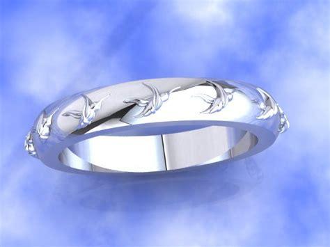platinum wedding band  hummingbird detail  custom