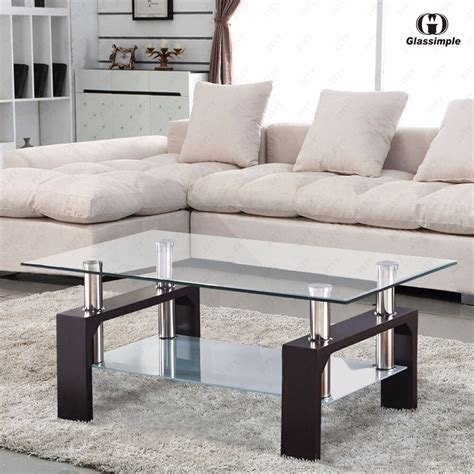 Coffee Side Tables Living Room Furniture by Rectangular Glass Coffee Table Shelf Chrome Walnut Wood