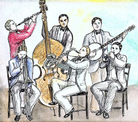 cartoon jazz band drawing by mel thompson