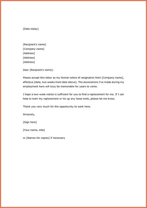 weeks notice resignation letter samples