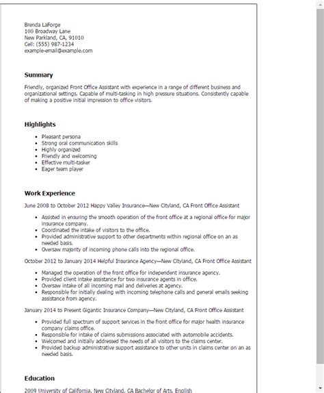 Resume Format Office Assistant by Professional Front Office Assistant Templates To Showcase Your Talent Myperfectresume