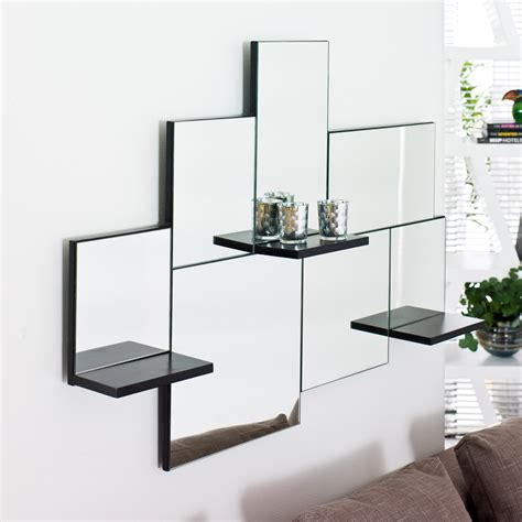 corner bar black triple shelf mirror dwell