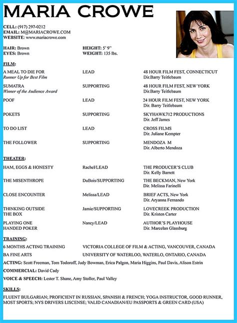Actor Resumes by 17 Best Ideas About Acting Resume Template On