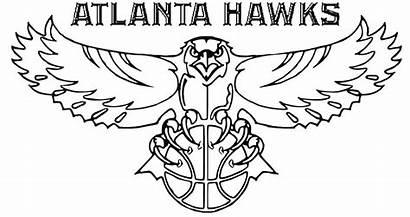 Coloring Nba Pages Basketball Logos Team Hawk