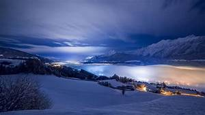 Winter Night in the Mountains Full HD Wallpaper and ...