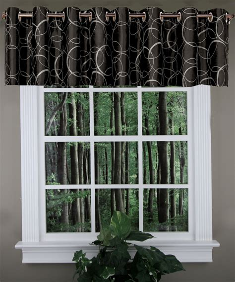 Black And Valance by Sinclair Lined Embroidery Valance Black United Grommet