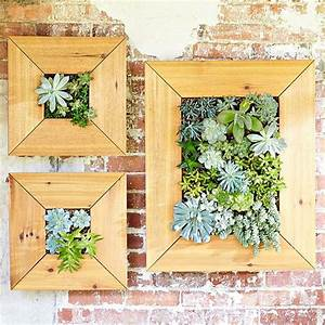 Build a space saving planter that turns succulent plants for Kitchen cabinets lowes with framed succulent wall art