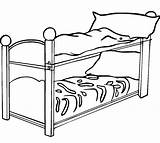 Bed Coloring Pages Bunk Clipart Drawing Colouring Frame Bun Clip Clipartmag Furniture sketch template