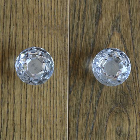 2pcs 40mm clear glass cabinet knobs drawer