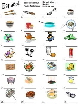 food table items vocabulary ids   languages