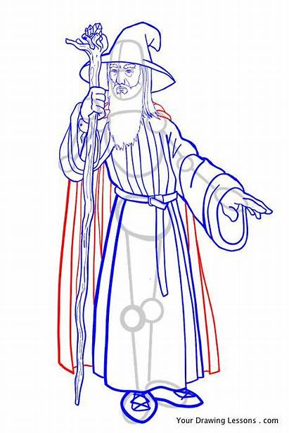 Gandalf Draw Drawing Lord Rings Staff Robe