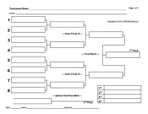 tournament draw sheets templates blank bracket sheets strongvon tournament management system