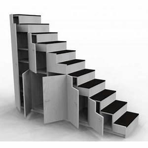 meuble escalier pour mezzanine avec rangements sur mesure With ordinary meubles pour petits espaces 6 gain de place des rangements dans les toilettes