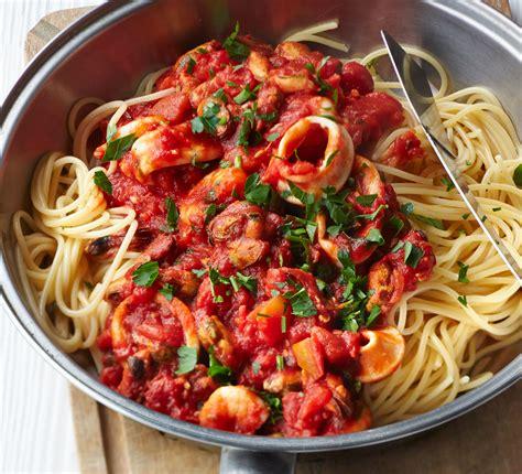 spaghetti  smoky tomato seafood sauce bbc good food