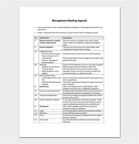 management meeting agenda template  word excel