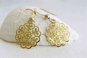 Gold Earrings - 14k Goldfilled Filigree Earrings - Dangle ...