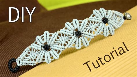 macrame flower bracelet tutorial youtube
