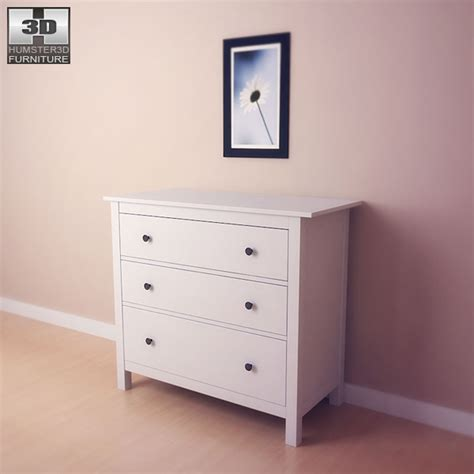 Hemnes Dresser 3 Drawer by Ikea Hemnes Chest Of 3 Drawers 3d Model Humster3d