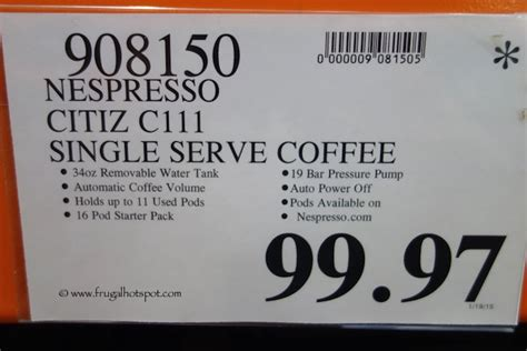 Costco CLEARANCE: Nespresso Citiz C111 Coffee Maker   Frugal Hotspot