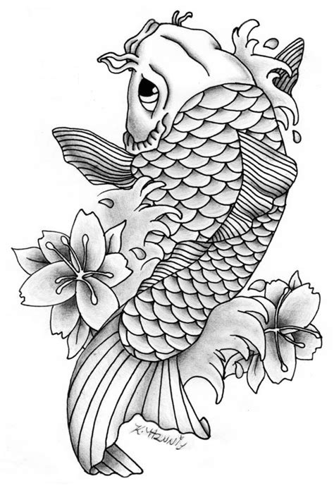 Lovely grey-olor koi fish tattoo design by Equine Ribbon