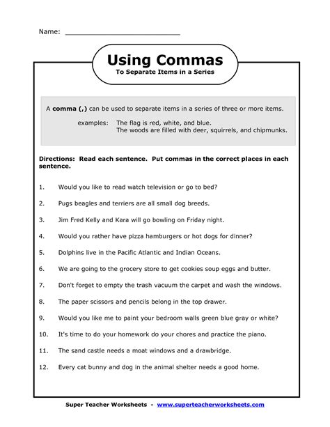 comma   series worksheets image commas   series
