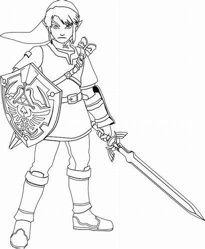 Zelda Coloring Link Pages Legend Sword Printable