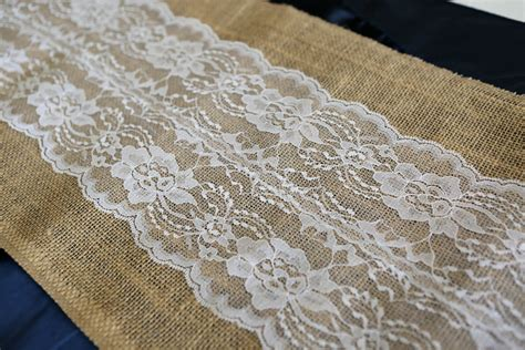 burlap table runner with lace burlap and lace table runner white 12 wide x