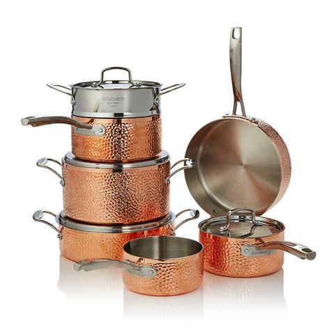 hammered copper triply  piece set  exclusive