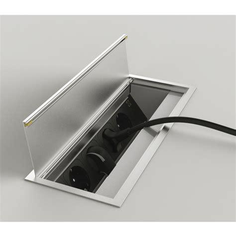 prise electrique encastrable cuisine bloc 4 prises escamotables rectangulaire rotatif versaflap