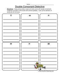 Double Consonant Detective  Double Consonants Worksheet 1  Spelling  Pinterest Worksheets