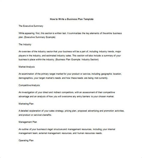 business plan outline template   word excel