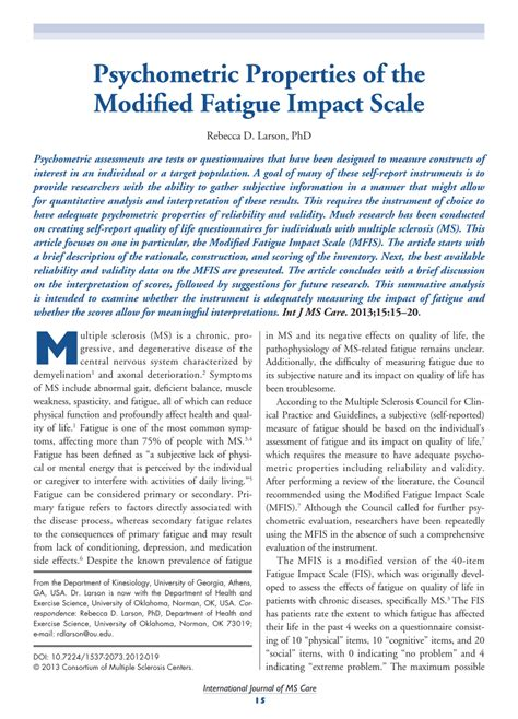 Modified Scale by Pdf Psychometric Properties Of The Modified Fatigue