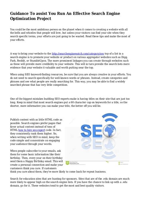 Effective Search Engine Optimization by Guidance To Assist You Run An Effective Search Engine