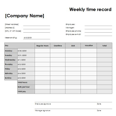 Time Recording Template weekly time record