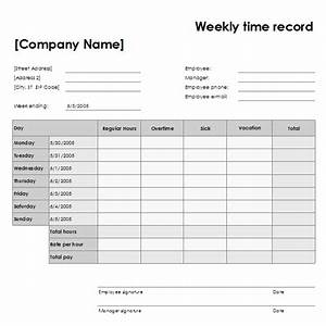 Weekly time record for Time recording template