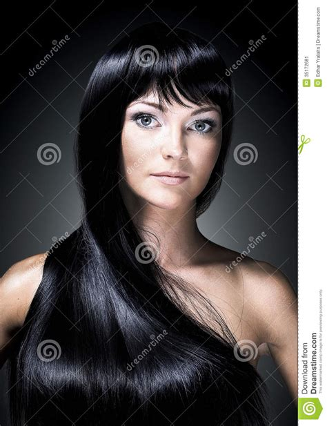 How To Shiny Black Hair by Portrait Of A Beautiful With