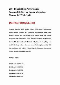 2001 Polaris High Performance Snowmobile Service Repair Workshop Manual Download By Jshefjsne