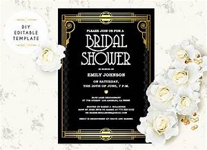 bridal shower invitation template diy great gatsby bridal With roaring twenties invitation template